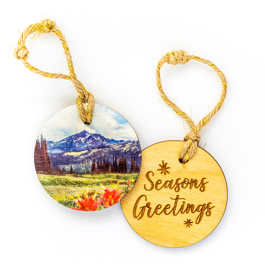 Circle Wooden Holiday Ornament <br> Seasons Greetings <br>Wildflowers in Bloom