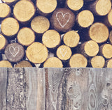 "Sample 8x8"" Print <br>Drawn Hearts on Woodpile<br> Matte Print"