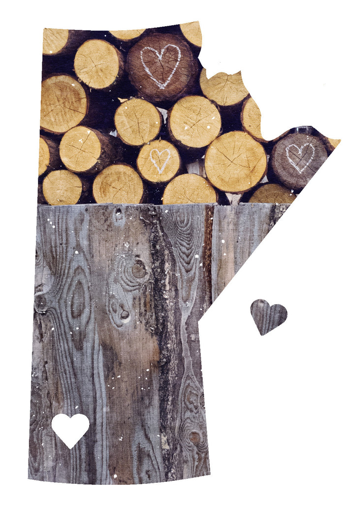 CLEARANCE Manitoba Love Magnet <br> Rustic Wood Pile + Hearts