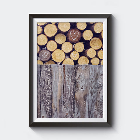 "16x24""Test Print <br> Rustic Woodpile + Hearts <br>Fine Art Metallic Print"