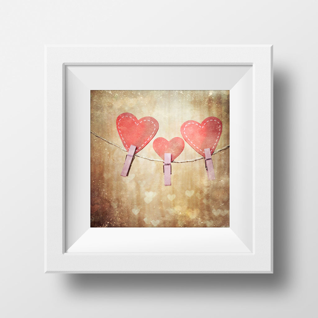 Discontinued Print<br>String of Pink Hearts<br>Matte Finish + Various Sizes