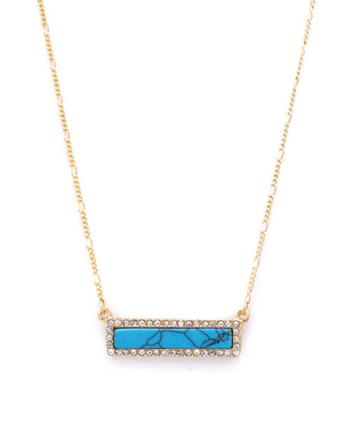 Sparkly Bar Pendant - Blue