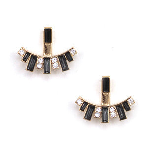 Art Deco Ear Jackets - Ebony