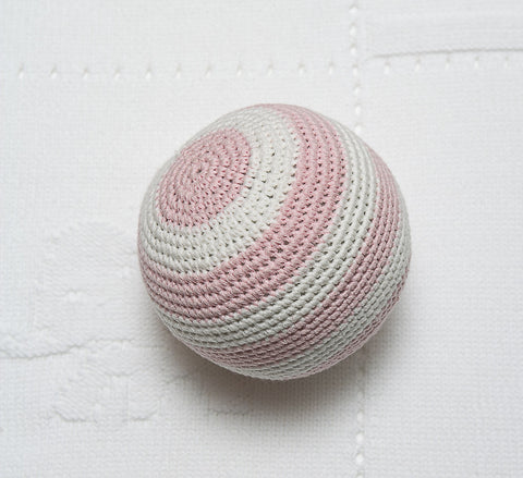 Crochet Stripe Ball Rattle - Pink