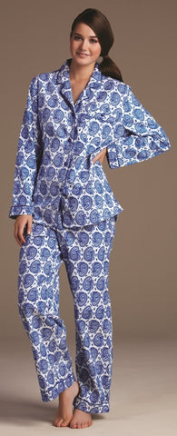 Lovable Damask Blue Print PJ Set