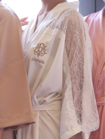 Ginger Olive Lace Sleeve Bridal Robe