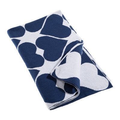 Little Bon Bon Baby Blanket - Navy Heart
