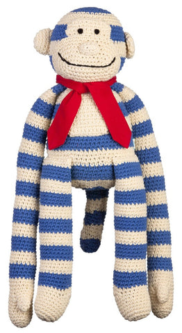 Navy stripe crochet monkey