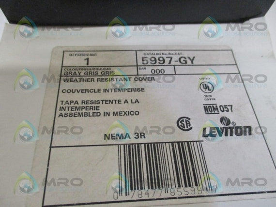 LEVITON 5997-GY GRAY WEATHER RESISTANT COVER *NEW IN BOX*