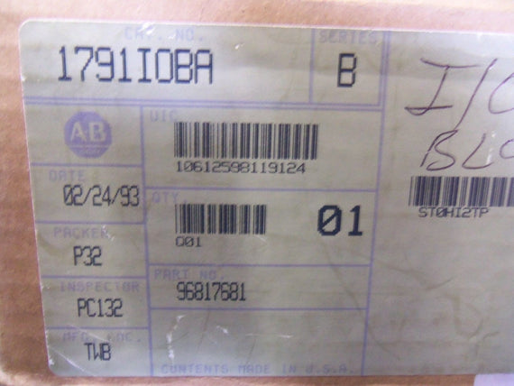 ALLEN BRADLEY 1791-IOBA SER. B DISTRIBUTED I/O MODULE *NEW IN BOX*