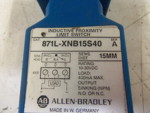 ALLEN BRADLEY 871L-XNB15S40 SER. A INDUCTIVE PROXIMITY LIMIT SWITCH *USED*