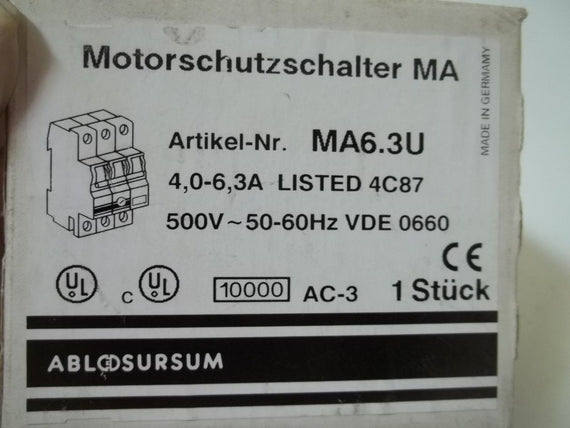 ALTECH CORP. MA6.3U MOTOR PROTECTOR *NEW IN BOX*