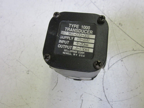 BELLOFRAM CORP. 961-070-001 TYPE 1000 TRANSDUCER 3-15PSI  *AS PICTURED* USED
