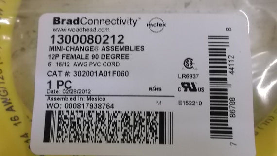 BRAD 1300080212 CABLE *NEW IN FACTORY BAG*
