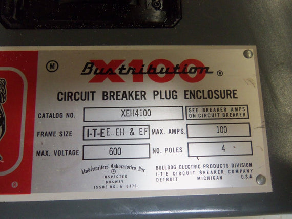 BULLDOG XEH4100 CIRCUIT BREAKER *USED*
