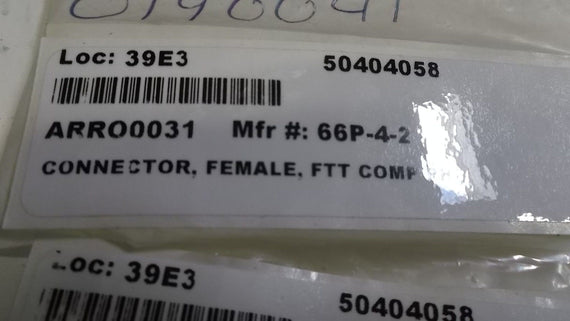 CONNECTOR, FEMALE FTT COMP PH 66P-4-2 *NEW NO BOX*