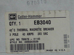 CUTLER HAMMER EB3040 CIRCUIT BREAKER 40A *NEW IN BOX*
