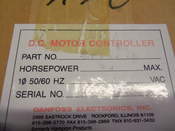 DANFOSS ELECTRONICS D5R1D5 MOTOR OVERLOAD CONTROL *NEW IN BOX*