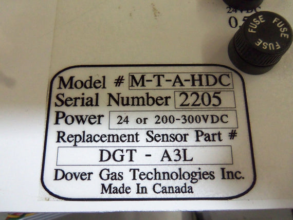DOVER GAS TECHNOLOGIES M-T-A-HDC SENSOR *USED*