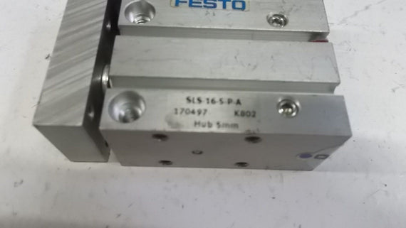 FESTO PNEUMATIC GUIDED CYLINDER SLS-16-5-P-A *NEW NO BOX*