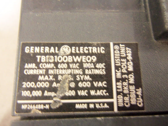 GENERAL ELECTRIC TB13100BWE09 CIRCUIT BREAKER *USED*