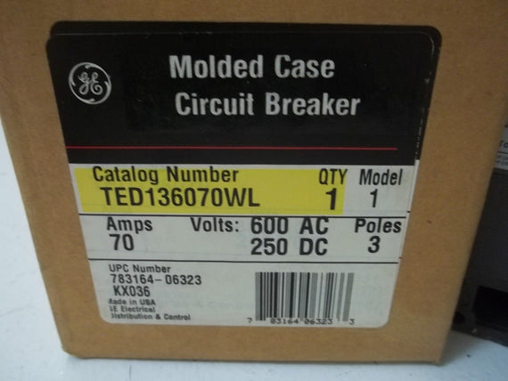 GENERAL ELECTRIC TED136070WL CIRCUIT BREAKER 70A *NEW IN BOX*