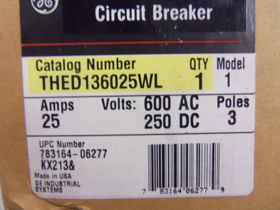 GENERAL ELECTRIC THED136025WL CIRCUIT BREAKER *NEW IN BOX*