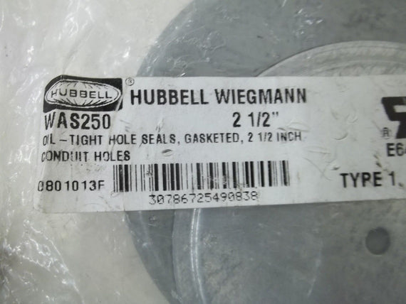 "HUBBELL WAS250 2-1/2"" TIGHT HOLE SEALS, GASKETED *NEW IN A BAG*"
