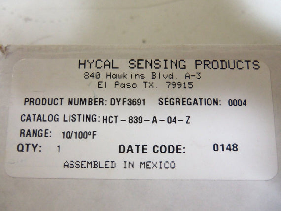 HYCAL SENSING HCT-839-A-04-Z DUAL TEMP/HUMIDITY TRANS 10/100 *NEW IN BOX*