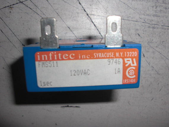 INFITEC FMS511 CYCLE TIMING MODULE 2BLADE 1SEC 120VAC *NEW NO BOX*
