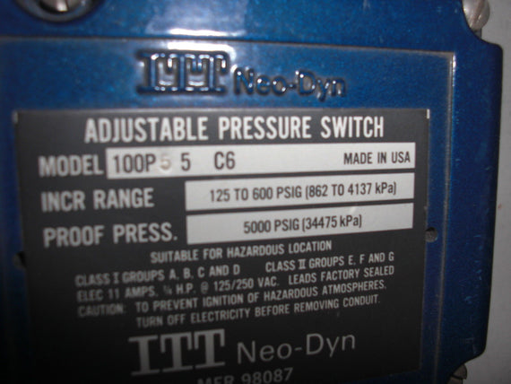 ITT NEO-DYN PRESSURE SWITCH  100P55C6 *USED*