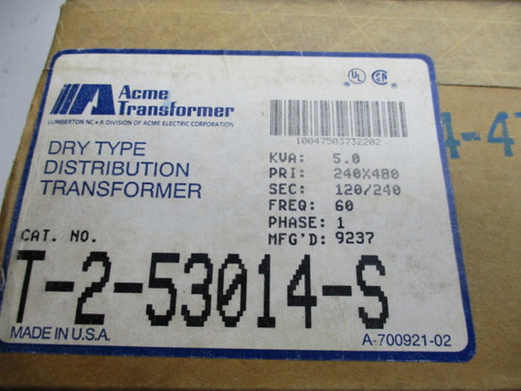 ACME  T-2-53014-S TRANSFORMER * NEW IN BOX *