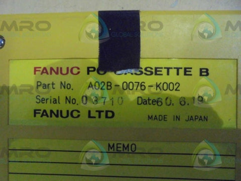 FANUC  A02B-0076-K002  PC CASSETTE B * USED *