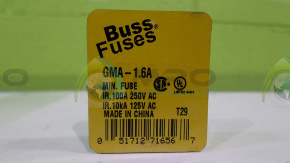 (LOT OF 3)COOPER BUSSMANN GMA-1.6A FUSE *NEW NO BOX*