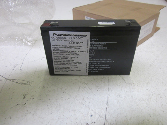 LITHONIA LIGHTING ELB 0607 LEAD CALCIUM BATTERY 6V 7AH *NEW IN BOX*