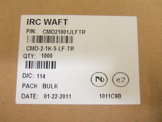 LOT OF 1000 IRC WAFT CM021001JLFTR METAL OXIDE RESISTOR *NEW IN BOX*