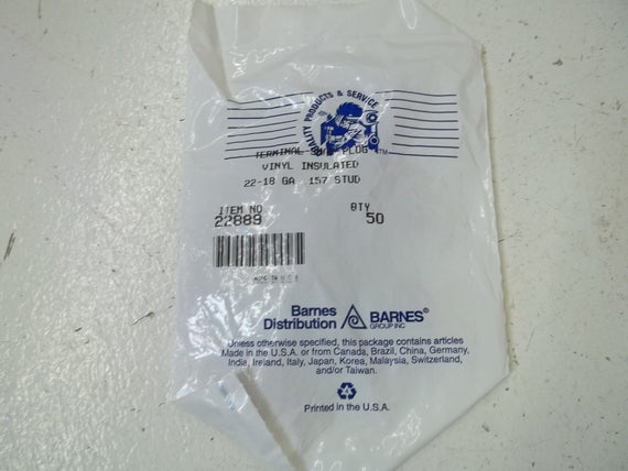 LOT OF 100 BARNER GROUP INC. 22-18 TERMINAL-SNAP PLUG *NEW IN A FACTORY BAG*