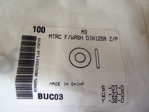 LOT OF 100 WASHER FLAT METRIC M3 BUC03 *NEW IN FACTORY BAG*