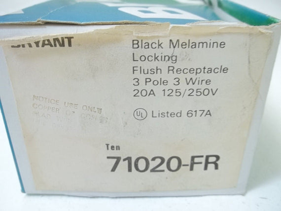 LOT OF 10 BRYANT 71020-FR LOCKING FLUSH RECEPTACLE *NEW IN BOX*