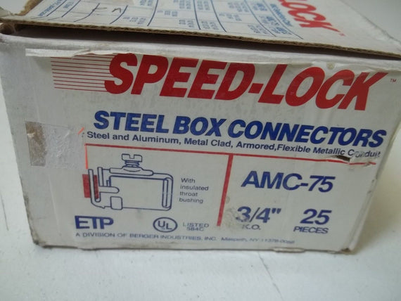 "LOT OF 25 SPEED-LOCK AMC-75 3/4"" STEEL BOX CONNECTORS *NEW IN BOX*"