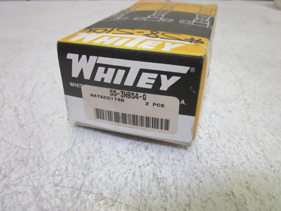 LOT OF 2 WHITEY SS-3NBS4-G VALVE  *NEW IN BOX*