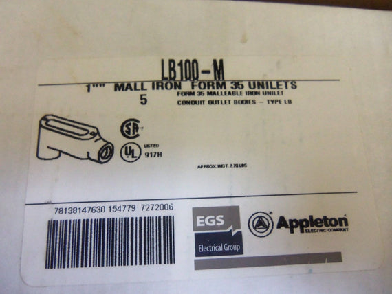 LOT OF 5 APPLETON LB100-M CONDUIT *NEW IN BOX*