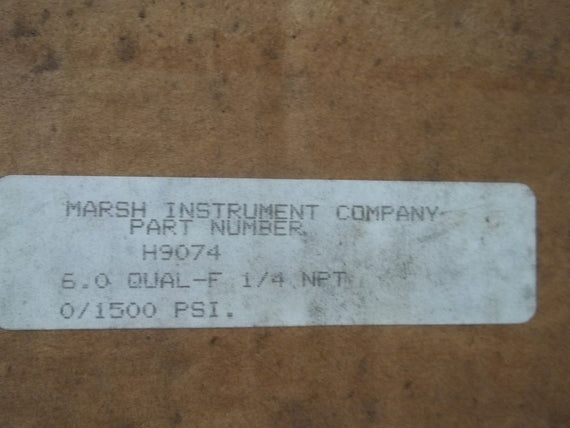 MARSH H9074 GAUGE 0-1500 PSI *USED*