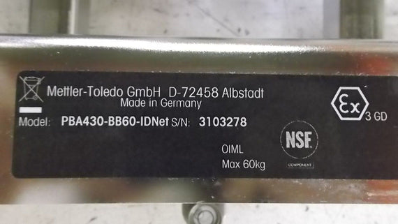 METTLER TOLEDO PBA430-BB60-IDNET SCALE (AS PICTURED) *NEW IN BOX*