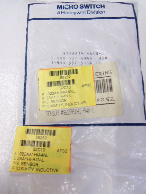 MICROSWITCH 922AA1HI-A4N-L *NEW IN FACTORY BAG*