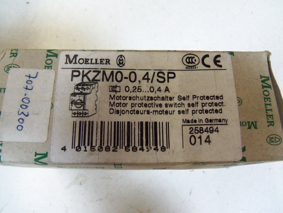MOELLER PKZM0-0,4/SP MOTOR PROTECTIVE SWITCH *NEW IN BOX *