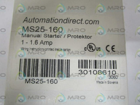 AUTOMATION DIRECT MS25-160 MANUAL STARTER 1-1 6AMP * NEW IN BOX
