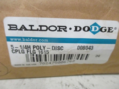 BALDOR 008043 5-1/4H POLY-DISC CPLG FLANGE 1615 * NEW IN BOX *