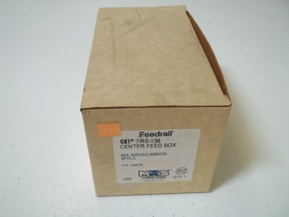MRS POWER SYSTEMS FRS-138 CENTER FEED BOX 60A 300VAC/300VDC 3POLE *NEW IN BOX*
