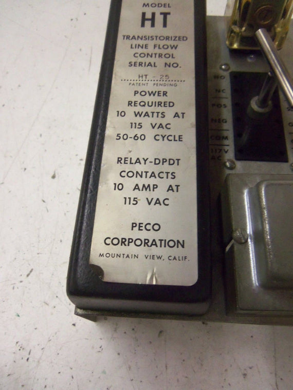 PECO TRANSISTORIZED LINE FLOW CONTROL MODEL HT *USED*